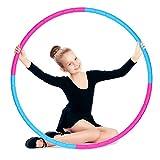 E-More Hula Hoop, Hula Hoop Aro para la pérdida de peso y masaje se utiliza para cebos, 8 segmentos desmontables Hoola Hoop Aro Adecuado para fitness/deporte/hogar (rosa y azul)