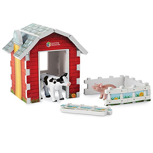 Learning Resources Jumbo Farm Foam Play Set  Contains Pig  Cow  Barn  Pen  14 Pieces  Ages 3+