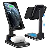 Wireless Charging Phone Stand,Foldable Desktop Cell Phone Tablet Stand,10W Max Qi-Enabled Wireless Charging Multi-Angle Adjustable Metal Phone Holder for iPhone 11/ES/MAX/XS/XR/X/8,AirPods/Pro