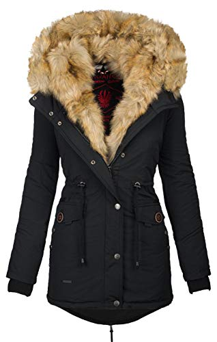 Navahoo 2in1 Damen Winter Jacke Parka Mantel Winterjacke warm Fell B365 [B365-Sweety-Schwarz-sF-Gr.XS]