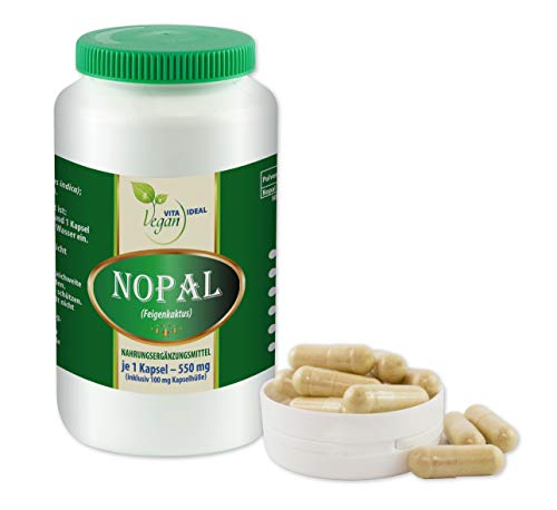 VITAIDEAL VEGAN® NOPAL (Feigenkaktus Opuntia) 360 Kapseln je 550mg, rein natürlich ohne Zusatzstoffe.