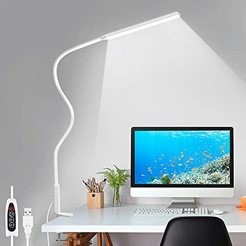LED Desk Lamp, YOTUTUN Swing Arm Table Lamp with Clamp, Flexible Gooseneck Task Lamp, Eye-Caring Architect Desk Light, 3 Modes 10 Brightness Levels, Memory Function Desk Lamps for Home Office, 12W