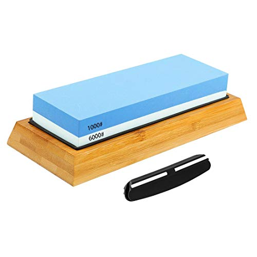 Homealexa Wetzstein 1000 6000 Set, Profi Abziehstein 2-in-1 Messerschärfer, Wasser Schleifstein mit rutschfest Silikonhalter& Bambusblock für Küche Messer (1000 6000 Körnung)