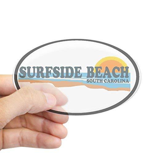 Surfside Beach SC - Strand Ontwerp Ovale Sticker Stickers Vinyl Auto Decals Bumper Stickers Grappige Stickers voor Laptop, voor Kinderen, Kerstcadeaus
