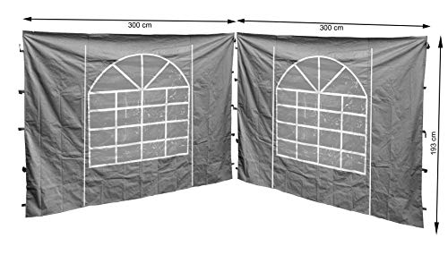 QUICK STAR 2 Seitenteile mit PVC Fenster 300x195cm für Pavillon Sahara 3x3m Seitenwand Grau