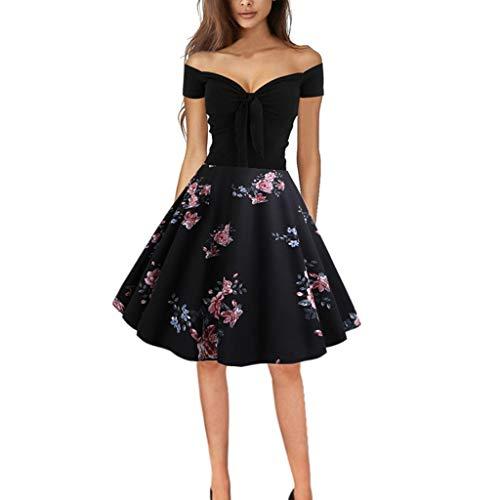 Randolly Womens Dresses,Ladies Vintage 1950s Retro Off Shoulder Printing Evening Party Prom Swing Dress Black