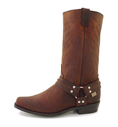 STARS & STRIPES Westernstiefel WB-01 - Westernwear-Shop Edition - mit gratis Stiefelknecht Cowboystiefel bzw. Cowboy Boots & Bikerstiefel Westernstiefel für Damen und Herren (45) Braun