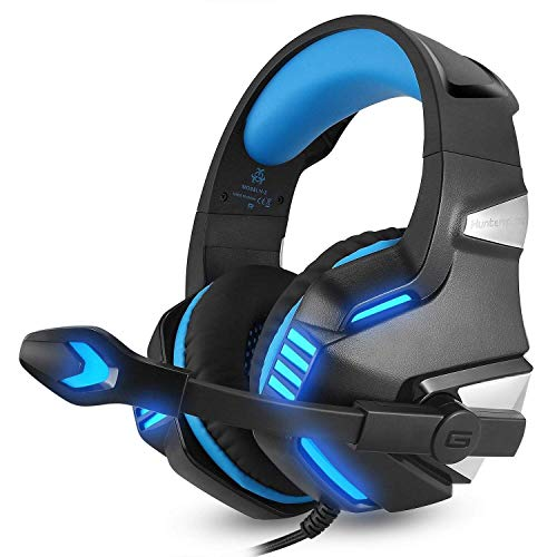 3.5mm Gaming Headset Mic LED Auriculares para SW PC PS4/Slim/Pro Xbox One S X (azul) Glow, control en línea, PS4 Headset