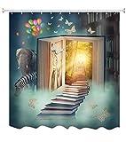 A.Monamour Duschvorhänge Fantasie Bibliothek Haus Buch Treppe Zum Märchen Verzauberte Schloss Elefant Zebra Schmetterlinge Drucken Wasserdicht Polyester Stoff Duschvorhang Für Kinder 180X200 cm