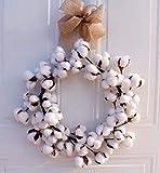 Baodanh - Tête de fleur naturelle séchée en coton naturel - Pour mariage, maison, Noël, décoration de mariage, décoration de Noël - Matériau mural, blanc, 14 in