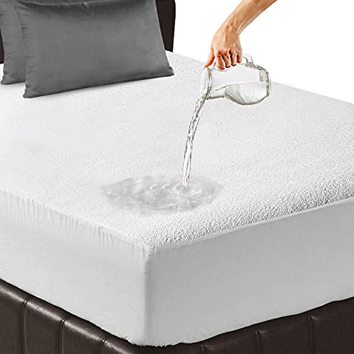 Bedlix Waterproof Mattress Protector King Ultra Soft and Extra Deep 40 cm Terry Towel Kingsize Mattress Protectors Topper -Super Absorbent and Machine Washable Cover for Bed (152 x 203 cm)