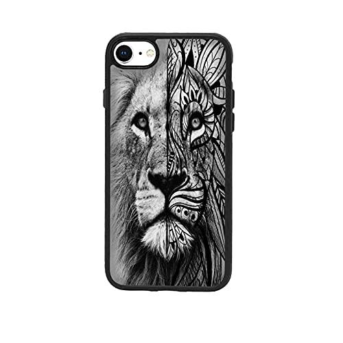 Cover Custodia Compatibile per Apple iPhone 7 Tatuaggi Tattoo Leone Tribale/Alluminio Indietro con Gomma sui Lati/Phone Rigido Rigido Resistente agli Ammortizzatore antigelo Antiscivolo TPU