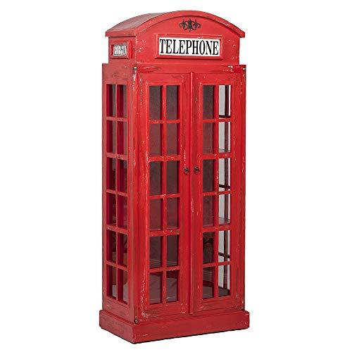 LEBENSwohnART Regal London 2-türig Antik Rot Mahagoni ca. H180cm Vitrine Telefonzelle Shabby