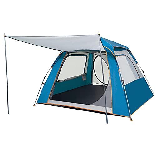 Tienda, Carpa Para Camping Automático Al Aire Libre Engrosado Automático Equipo Ultraligero A Prueba De Lluvia Y Protector Solar Carpa, Para La Familia Senderismo,Azul,3~4 people