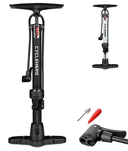 CYCLEHERO Fahrradluftpumpe (Farbe Schwarz) Fahrradpumpe mit übersichtlichem Manometer Display