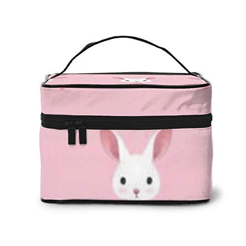 Beau Lapin Fond Rose Voyage Organisateur cosmétique Sac de Rangement Portable, Sacs de Toilette Multifonction