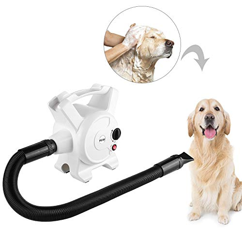 Pedy Dog Hair Dryer 3.2 HP Stepless Adjustable Speed Blow Dryers for Dogs Grooming with Heater 2400W...