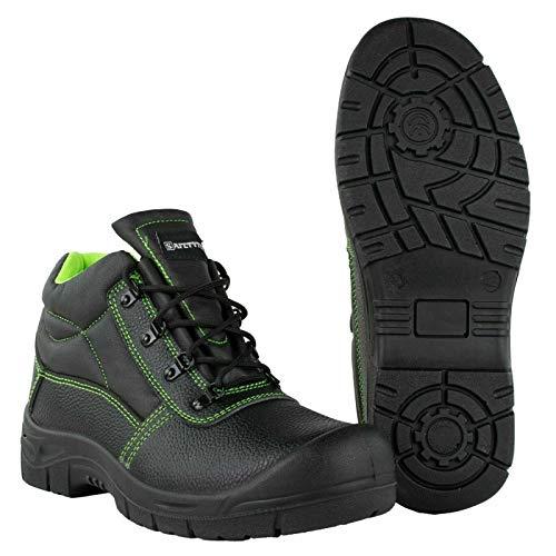 SAFETYTEX Sicherheitsschuhe S3 Stahlkappe Leder Arbeitsschuhe schwarz Schnürstiefel Halbschuhe leicht ergonomisch rutschhemmend, Schnürstiefel, 46