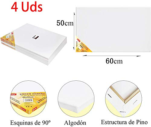 ALLPER Pack de 4 lienzos 50 x 60 cm de 100% algodón apto pa
