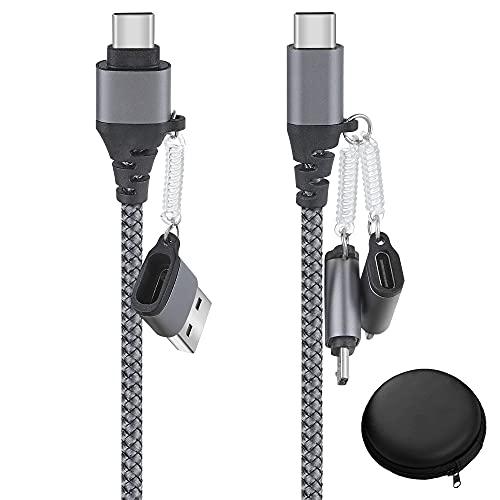 6 en 1 Multi Cable de Carga, Nylon Trenzado Cables USB Multiusos carga rapida con transferencia de datos iP Micro USB Tipo C para Android Pixel Galaxy Huawei Honor Kindle LG Xiaomi Redmi(Con caja)