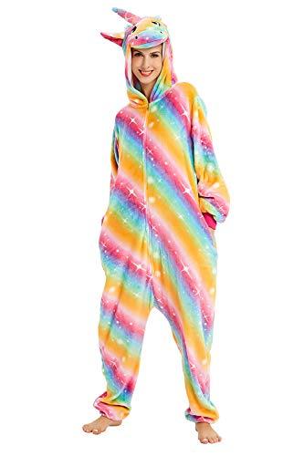 U LOOK UGLY TODAY Unisex Damen Einteiler Einhorn Tier Einhorn Tier Weiches Flanell Hausmode Einteiler Nachtwäsche Cosplay Jumpsuit Party Kostüm Gr. X-Large, Golden Rainbow Unicorn