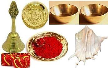 finaldeals Diwali Pooja Combo Pack Brass Puja Thali 2 Piece Brass Bowls Garuda Ghanti with Mauli Kumkum Panchmukhi shankh