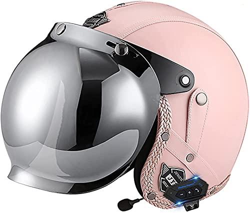 YLFC Medio Casco Bluetooth Casco de Motocicleta de Cara Abierta Visera abatible Máscara Gafas Casco de Chorro Certificación Dot/ECE para Scooter de Motocicleta de Carretera Chopper de Crucero