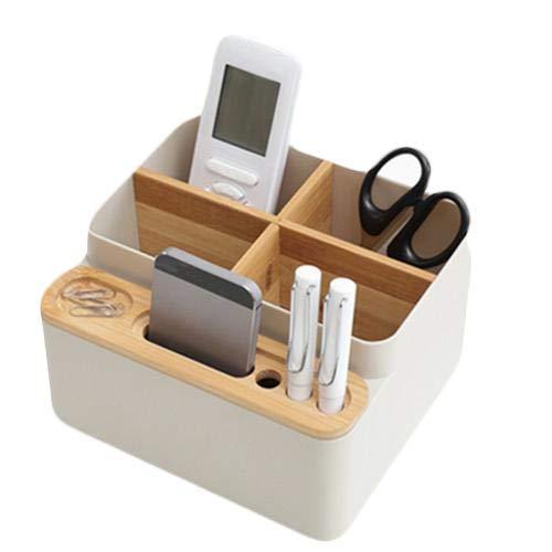 Bambus Desktop Schreibtisch Organizer Office Supplies Aufbewahrungsbox Perfekte Desktop Box für Ihr Smartphone Fernbedienung und andere Kleinteile
