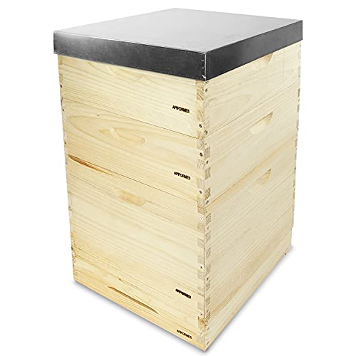 APIFORMERS Dadant 12 US Beute - aus Weymouthskiefer - Bienen - Nachhaltig - Imkereibedarf - 36 Rähmchen - Massivholz - Naturprodukte - Tierzubehör