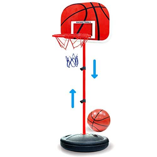 DaMohony Aro de baloncesto portátil para niños, altura ajustable, sistema de soporte de baloncesto para tablero, juego de red de juguete para niños