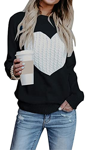 Black and white heart sweater for Valentine's Day.