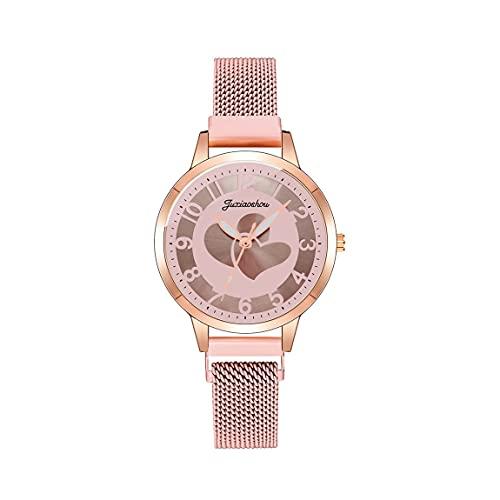 CXJC Reloj de Cuarzo Digital Impermeable. El Reloj de Las señoras del patrón de Amor. Reloj Deportivo de cinturón de Malla de Acero Inoxidable (Color : F)