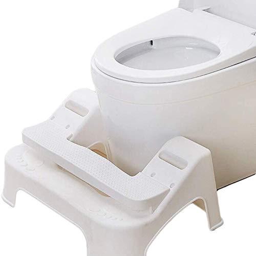 Kruk Toilette Badkamer, krukje Squatty Verwisselbare Pinnen Auxiliary hoogte verstelbaar,White