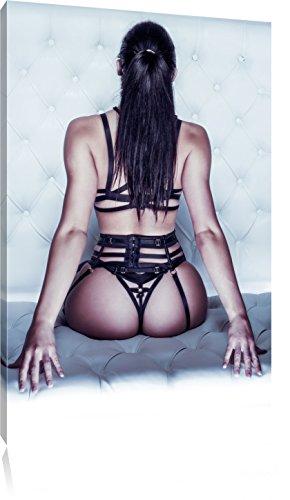 Pixxprint Brünette Frau in sexy Dessous als Leinwandbild | Größe: 80x60 cm | Wandbild | Kunstdruck | fertig bespannt