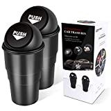 YIOVVOM Car Trash Can with Lid Fit Cup Holder Car Door (Black-2pcs)