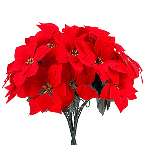 Luyue 4 Pack Artificial Red Poinsettia Christmas Flowers Bushes Fake Floral Decorative Ornament for X'mas Tree Wreath Decor Holiday Decoration