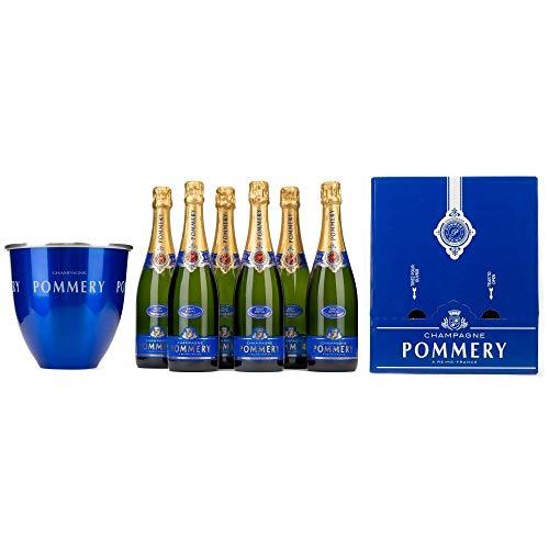 Pommery Set 6 Flaschen POMMERY BRUT ROYAL in Geschenkpackung + 1 Kühler Champagner 0.75l Flasche