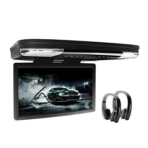 XTRONS 15.6 Inch 1080P Video HD Digital Widescreen Car Overhead Coach Caravan Roof Flip Down DVD Player HDMI Port New Version Black IR Headphones Included