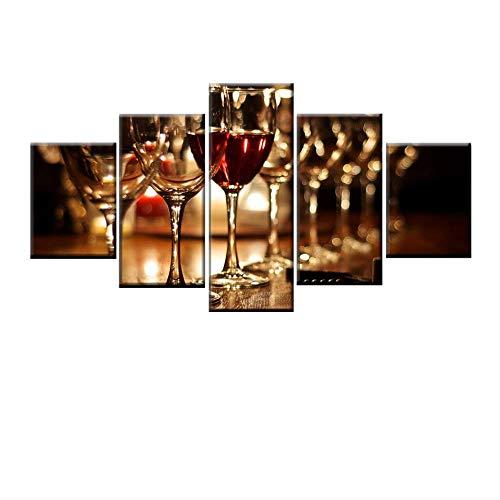DGGDVP HD-kunstdruk, 5 stuks, wijnglas, dun, canvas, decoratie voor huis, woonkamer, keuken, wand, kunst 40x60cmx2 40x80cmx2 40x100cmx1 Geen frame