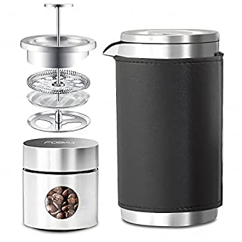 FOSKU French Press Coffee Maker Set Stainless Steel Camping Coffee Press and Coffee Canister with Travel Tote Bag Single Serve 1 Cup Small Double Walled French Press 350ml/12oz