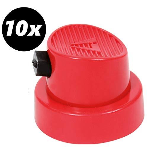 tradoro 10x Sprühkopf Breitstrahl Flächensprühkopf Fat Cap für Lack Spraydosen