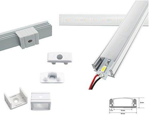 Preisvergleich Produktbild LED Aluschiene Set Alu Profil Schiene ink. SMD Alustrip Hart Strip Lichtleiste Profil A milchig + Alu Strip Warmweiß 1 Meter