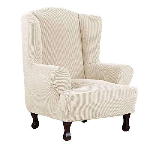 SINKITA Ohrensessel Schonbezug,Stretch Ohrensesselbezüge Sessel Stuhl Spandex Möbelbezüge Für Ohrensessel Elastische-Creme Farben-Ohrensessel