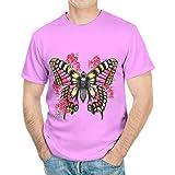Camiseta de manga corta para hombre con cuello redondo y diseño de mariposa, de poliéster