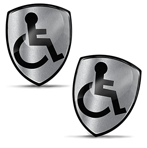 Biomar Labs 2 x 3D Silicone Adesivi Resinati Argento Contrassegno Disabile Internazionale Handicap Sedia A Rotelle Disabili Simbolo per Automobile Motocyclette Finestrìno Bici Porta KS 135