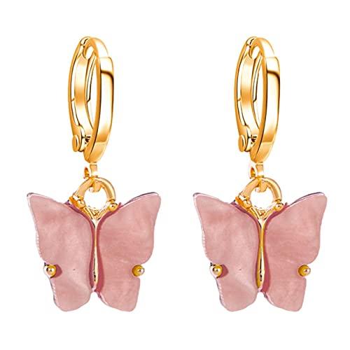 Facynde Oro Pendientes de Mariposa de Oro Mujeres Encanto-Plata Mini aro cuelga Pendientes con Encanto Huggie Hoop Pendientes para niñas Adolescentes