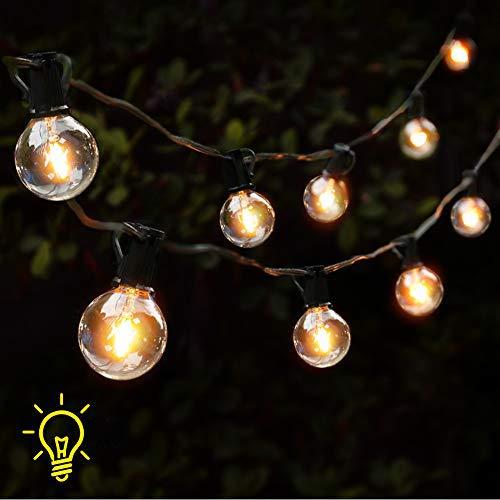GEEDIAR Outdoor Garden String Lights Mains Powered,25ft G40 Patio Outside String Lights,Waterproof Indoor/Outdoor Festoon Lights for Xmas Wedding Birthday Decoration (25 Bulb+3 Spare Bulb)