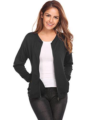 Meaneor damesjack gebreid bomberjack vliegenjack herfst winter blouson korte jas bovenstuk zwart marine groen