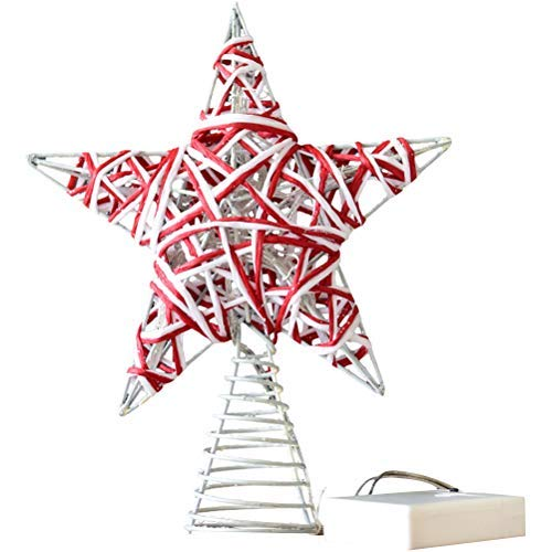 PTS Christmas Star Tree Topper Delicate Xmas Small Luminous Treetop Pentagram Twine Shiny Christmas Tree Ornament Without Battery