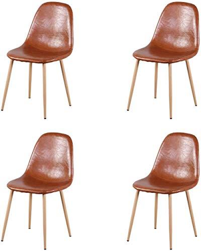HYLMM Objetivos de Still Life 4 Piezas sillas de Comedor, sillas de Siglo Moderno de los Mediados de Cuero marrón de PU Patas metálicas